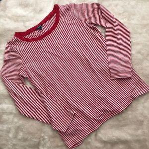 Splendid Red White Long Sleeve Striped Tee SZ Lrg